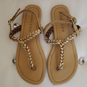 Rampage Gold Braided Sandals